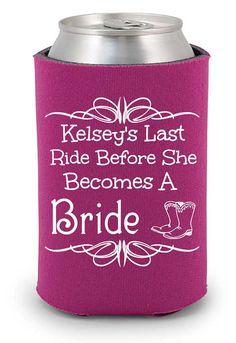 Last ride before she becomes a bride, bachelorette party koozies, custom koozies, personalized koozies