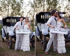 """vintage chic wedding - colorado wedding - couple with """"just married"""" sign"""