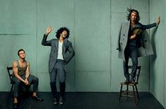 Jonathan Groff with Daveed Diggs and Lin-Manuel Miranda, in a photoshoot for GQ Magazine 2015