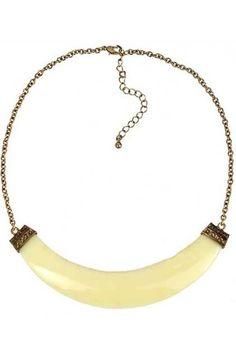 Neon Beige Faux Stone Crescent Collar Necklace