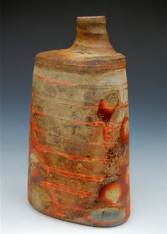Ryan Strobel Clintonville WI Rustic bottle Stoneware click the image or link for more info. Kintsugi, Pottery Vase, Ceramic Pottery, Thrown Pottery, Slab Pottery, Cerámica Ideas, Sculptures Céramiques, Ceramic Sculptures, Keramik Vase