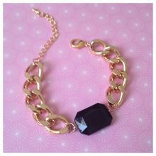 Black Jeweled Chain Bracelet - Gold