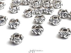 Ornate Rondelle Beads, Pewter Metal Beads, Antique Silver Beads, 4x6mm, 2.5mm Large Hole, Lead Free, Lot Size 10 to 50, #1303 BH