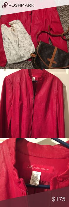 NWT Red Leather blazer jacket 1x Soft buttery  leather  Just in time for the holidays fits well on XL $329 Anne Klein Jackets & Coats Blazers