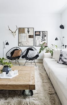 cozy black and white interiors