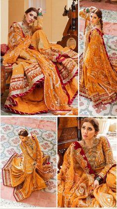 Mahira Khan Dresses, Shadi Dresses, Pakistani Dress Design, Pakistani Outfits, Muslim Fashion, Indian Fashion, Bridal Mehndi Dresses, Mehndi Outfit, Designer Party Wear Dresses