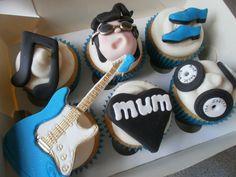 Elvis themed cupcakes - Babycakes & Roses Cakecraft Ltd Elvis Cupcakes, Cupcake Toppers, Cupcake Cakes, Elvis Presley Cake, Twins Cake, Mum Birthday, Themed Cupcakes, Piece Of Cakes, Cake Cookies
