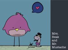 Mrs. Beak and Mr. Mustache by euriana
