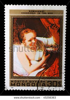 Mongolia Stamp - Rembrandt Hendrickje in the Bed