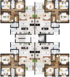 home decor architect interior exterior Residential Building Plan, Modern Residential Architecture, Architecture Plan, Hotel Floor Plan, Architectural Floor Plans, Apartment Floor Plans, Apartment Layout, Villa, Home Design Plans