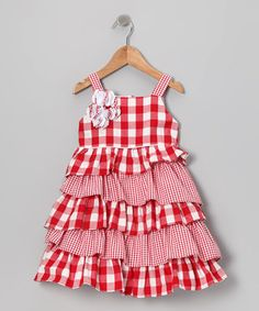 Loving this Gidget Loves Milo Red & White Gingham Ruffle Dress - Infant, Toddler & Girls on #zulily! #zulilyfinds