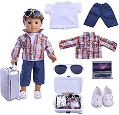ZWSISU Boy Doll Clothes- Lot Daily Travel Notebook Clothes Trunk Set+ 1 Shoes fit for American 18 inch Girl & Boy Dolls Logan Doll Outfits Boy Doll Clothes, Cheap Dolls, Our Generation Dolls, Doll Costume, Best Birthday Gifts, Christmas Gifts For Kids, Doll Shoes, Suit Fashion, Doll Accessories