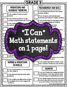 """3rd Grade Common Core 1 PAGE Math Checklists (Standards and """"I Can"""" Statements)"""