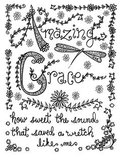 Hymn Spirations Coloring Book Page Prayer Inspirational Spiritual Colouring Adult Detailed Advanced Printable Zentangle Anti