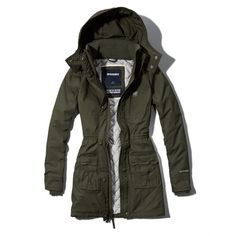 Abercrombie & Fitch All-Season Weather Warrior Parka ($25) ❤ liked on Polyvore featuring outerwear, coats, jackets, olive, water resistant coat, olive green parka coat, quilted coat, army green hooded parka and parka coat
