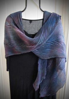Chignon - Arashi Shibori Hand Dyed & Hand Pleated Silk Shawl/Scarf by daisyDdesigns on Etsy