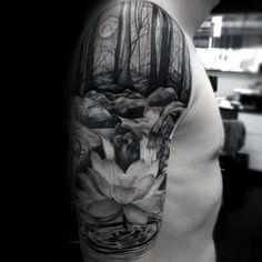 Amazing Forest Waterfall Male Half Sleeve Tattoo Designs