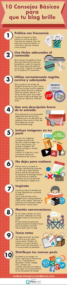 10 consejos para que tu Blog brille #infografia #infographic #socialmedia