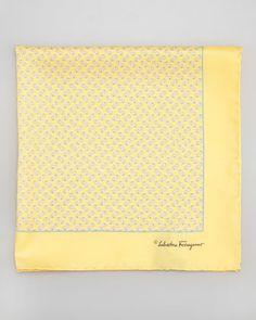 Gancini-Print Silk Pocket Square, Yellow by Salvatore Ferragamo