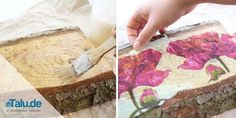 Instructions: Napkin technique on wood and glass - Transfer Images To Wood, Mod Podge Crafts, Napkin Decoupage, Wood Images, Napkin Folding, Wedding Napkins, Picture On Wood, Diy Photo, Diy Wall Art