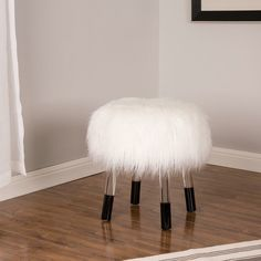White Faux Fur Stool with Acrylic Legs Vanity Seat, Vanity Stool, Acrylic Bench, Faux Fur Stool, Modern Vanity, Decoration, Contemporary Style, Room Decor, Furniture