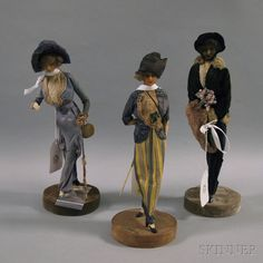 * Three Lafitte-Desirat Wax Fashion Figures En Promenade, France, c. 1911-1913, the figures captured in stride with molded wax heads, necks, and chests,