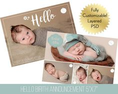Baby Boy Birth Announcement | Baby Girl Birth Announcement | Birth Announcement Template | Layered PSD File | Hello Newborn Template