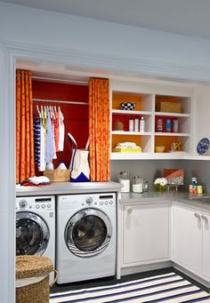 Laundry Room: like hanging clothes overhead.
