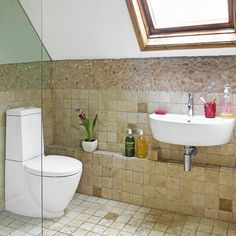 Attic bathroom with sloping ceiling | Small bathrooms | Tiles | housetohome.co.uk