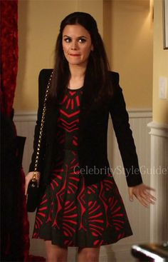 Seen on Celebrity Style Guide: Hart of Dixie Style and Fashion: Rachel Bilson, as Zoe Hart, wore this red and black print flare dress and red satin platform pumps on Hart of Dixie episode 'A Good Run Of Bad Luck ' - 3x17