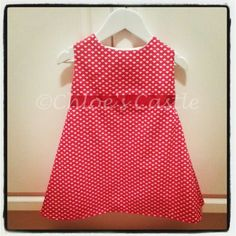 A Line red heart handmade baby girls dress