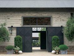 Barn doors on a barn. Barn doors on a barn. Barn doors on a barn. Modern Barn, Modern Farmhouse, Industrial Farmhouse, Entrance Doors, Garage Doors, Sliding Doors, Modern Entrance, Door Hinges, Closet Doors