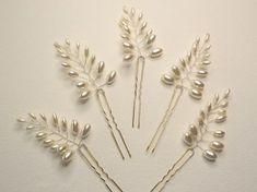 Pasadores de pelo perla de hoja de helecho por RoslynHarrisDesigns