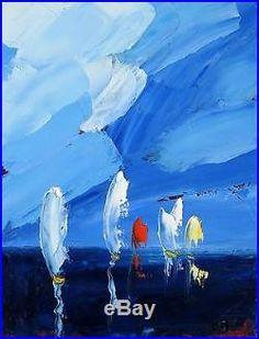 Tableau original de Sic 35 x 27 cm Voiles abstrait mer océan peinture toile