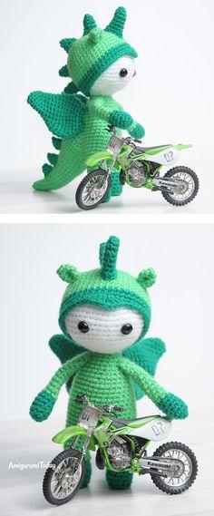 Amigurumi doll in dragon costume - FREE PATTERN
