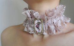 Victorian Choker Ruffle Collar Lace Choker Neck by Elyseeart