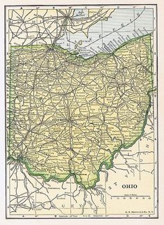 Map Through Ohio Us State Map, Us Map, Fish Print, Cactus Print, Vintage Maps, Antique Maps, Ohio Is For Lovers, Ohio Map, Country Maps