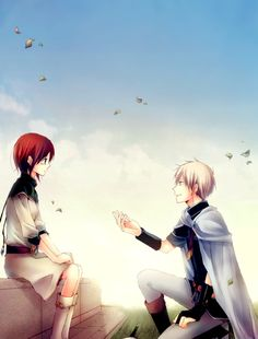 Tags: Anime, Leaves, Kneeling, Hold Out Hand, Akagami no Shirayukihime, Zen Wistalia, Shirayuki (Akagami no Shirayukihime)