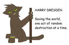 The Dresden Files ~ Harry Dresden is a professional wizard, that's why he has the staff, two bracelets, and the ring. The staff channels fire and wind energy, the bracelets create force fields (shields), and the ring stores kinetic energy every time he moves his arm. He can use the stored kinetic energy to blast enemies away.