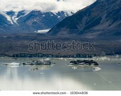Tasman Glacier Lake with floating icebergs in Aoraki Mount Cook National Park
