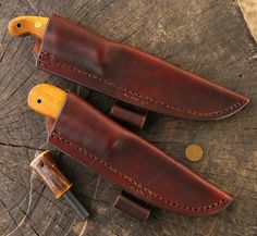 Knife Set, Osage, Archer's Knife, Hunting Knife Set, Custom Knifemaker, Lucas Forge, Custom Hunting Knives