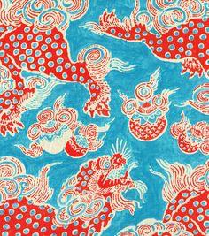 "Home Decor Print Fabric-  Williamsburg Dunmore Dragon Persimmon $18 for 54"" Wide"