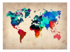 World Map in Watercolor Láminas en AllPosters.es