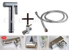 (59.18$)  Watch now  - G1/2, G7/8, G3/4, M18X1.5L Optional Brass T-adapter+ Hand Held Bidet Toilet Shattaf Kit Sprayer &Wall Holder+ hose A2012ST