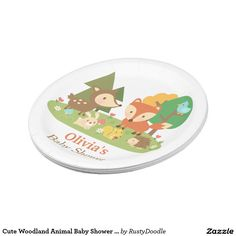 Cute Woodland Animal Baby Shower Party Supplies Paper Plate