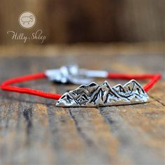 Silver bracelet-Mountains on the red string. Trending Outfits, Mountains, Unique Jewelry, Handmade Gifts, Bracelets, Silver, Etsy, Vintage, Handcrafted Gifts