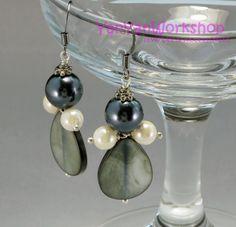 Freshwater Pearl Earrings, Silvery Black 10mm, Ivory 6mm, Round Pearls Handmade Earring