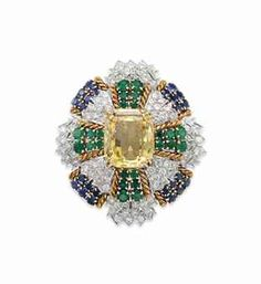 Christeis A DIAMOND, YELLOW SAPPHIRE, EMERALD AND SAPPHIRE BROOCH, BY DAVID WEBB