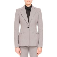Altuzarra Acacia Mini-Gingham One-Button Blazer featuring polyvore, women's fashion, clothing, outerwear, jackets, blazers, mini jacket, long sleeve blazer, long sleeve jacket, straight jacket and gingham jacket