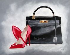 ART PRINT of Vintage Black HERMES Kelly Bag and Red Christian Louboutin Shoes, Fashion Gifts, Wall Art, Home Decor, Grace Kelly